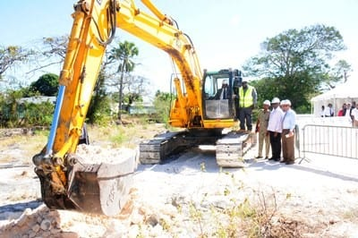 Officials breaking ground at the site for the construction of the new Hastings/Worthings Police Station in January. (FP)
