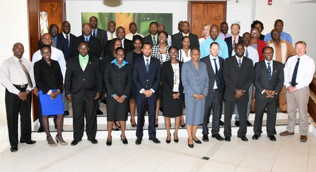 Permanent Secretary in the Office of the Attorney General, Diane Campbell (first row, fifth from right) poses with workshop participants at the Radisson Resort today. (A.Gaskin/BGIS)