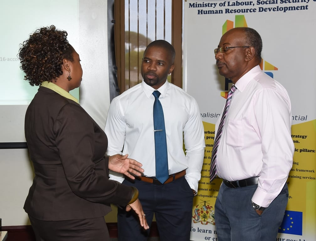 Programme Officer in the HRDS Unit of the Ministry of Labour, Moreen Bowen, discussing the update of BARSOC with local consultants Shane Howell (centre) and Peter Downes of Profiles Caribbean Inc. (C.Pitt/BGIS)