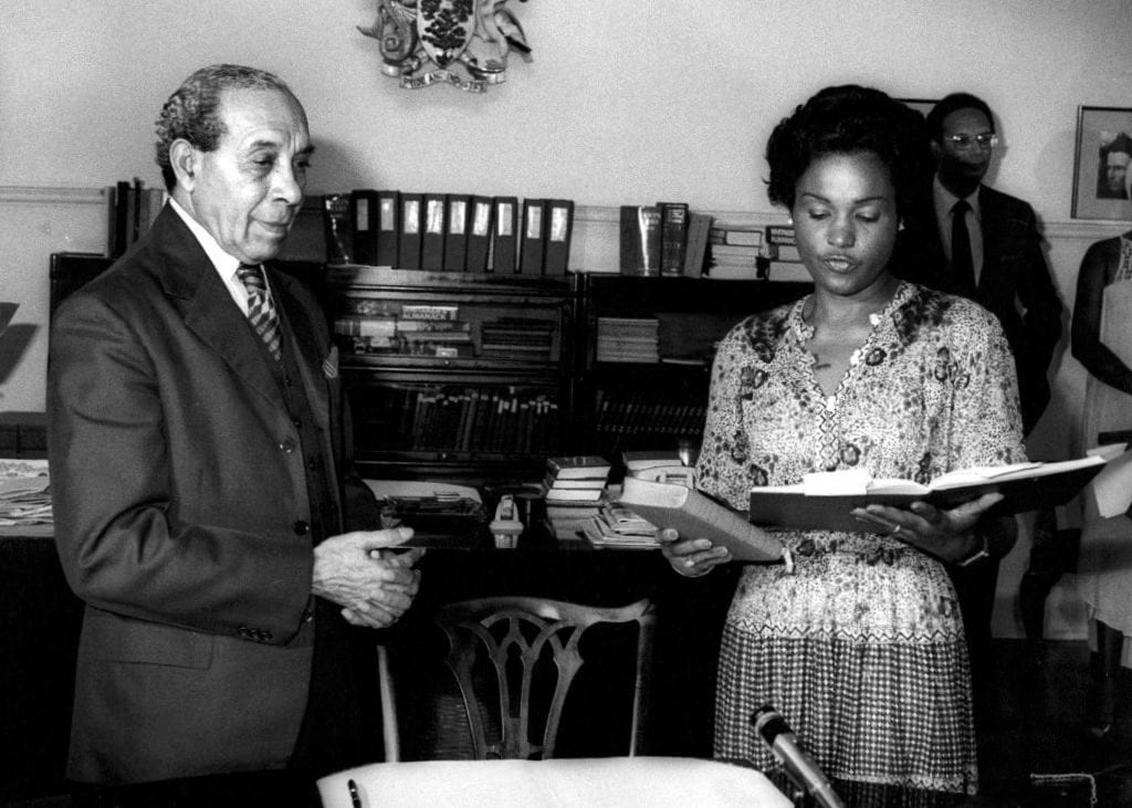 Looking back - Dame Billie Miller being sworn in following the 1981 General Election by then Governor General, the late Sir Deighton Ward. Also pictured is the late Prime Minister Tom Adams. (FP)