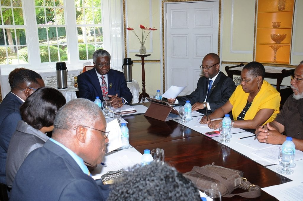Prime Minister Freundel Stuart chairing the meeting of reparation stakeholders at Ilaro Court recently. (B.Hinds/BGIS)