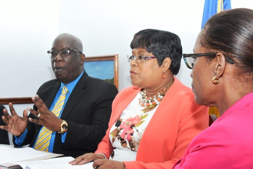 Education Minister, Ronald Jones speaking at today's press conference on the 11-plus results. Also pictured are Chief Education Officer, Karen Best and Permanent Secretary, June Chandler. (A.Gaskin/BGIS)