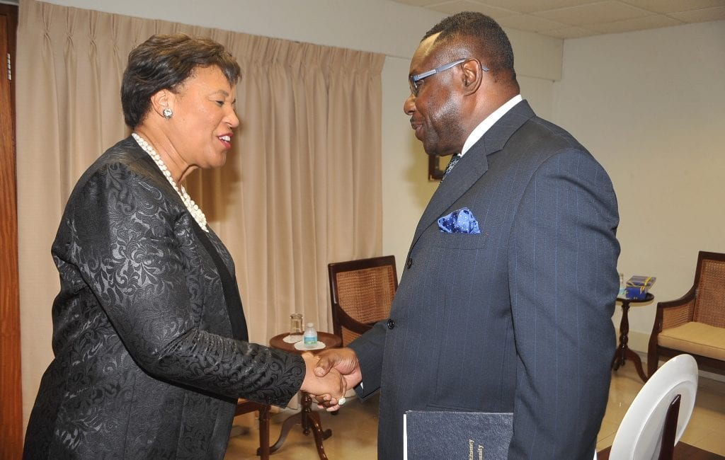 Acting Minister of Foreign Affairs and Foreign Trade, Steve Blackett greeting Commonwealth Secretary-General, Baroness Patricia Scotland at the start of their meeting. (A.Miller/BGIS)