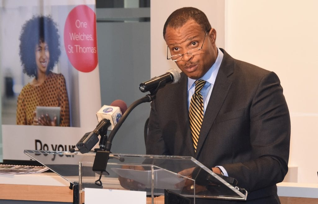 Minister of Finance, Christopher Sinckler addressing the launch of the Regus Business Centre, at One Welches, St. Thomas today. (C.Pitt/BGIS)