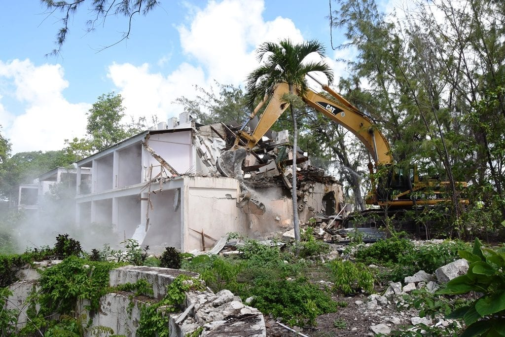 Demolition work gets under way at Sam Lord's Castle. (C.Pitt/BGIS)