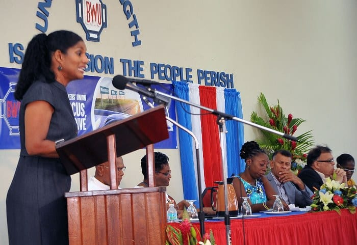 Minister of Labour, Social Security and Human Resource Development, Senator Dr. Esther Byer-Suckoo speaking at the Barbados Workers' Union 75th Annual Delegates' Conference at Solidarity House on Saturday. (A.Miller/BGIS)