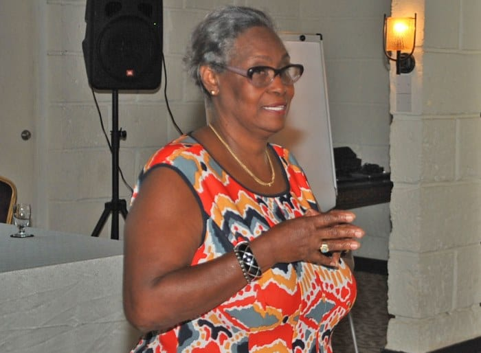 Retired Director of the DEM, Judy Thomas addressing participants at the Planning Development and Enhancement workshop today. (A.Miller/BGIS)