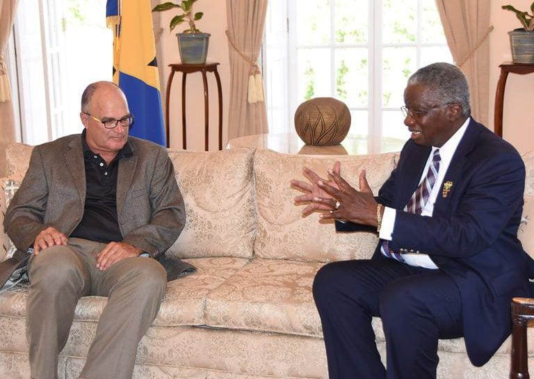 Prime Minister Freundel Stuart making a point during a courtesy call with the new Chairman of the Barbados Private Sector Association, Charles Herbert. (C.Pitt/BGIS)