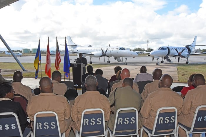 Permanent Secretary in the Prime Minister's Office in St. Kitts and Nevis, Osbert DeSuza speaking at the handing over ceremony of the refurbished Maritime Patrol Aircraft. (C.Pitt/BGIS)