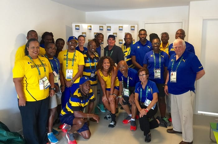 Minister of Sports, Stephen Lashley posing with members of the Barbados Olympic Team 2016 in Rio, Brazil. (GP)