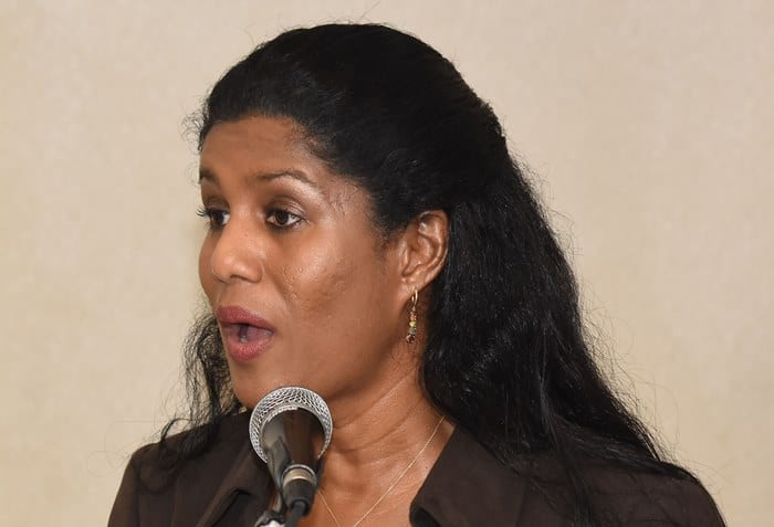 Minister of Labour, Senator Dr. Esther Byer Suckoo speaking yesterday at a two-day workshop hosted by the International Labour Organisation and the Barbados Employers' Confederation at the Accra Beach Hotel. (C.Pitt/BGIS)