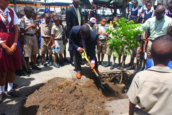 NCC General Manager, Keith Neblett planting a tree during the National Arbor Day ceremony at Independence Square yesterday. (NCC)