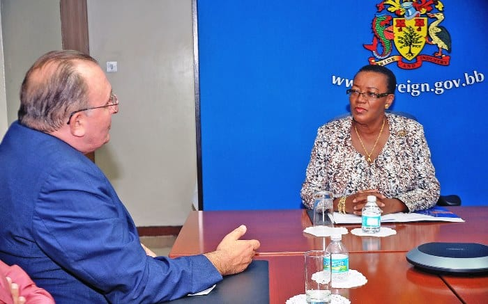 Minister of Foreign Affairs and Foreign Trade, Senator Maxine McClean in discussion with outgoing French Ambassador Eric de la Moussaye during a recent courtesy call. (A.Miller/BGIS)