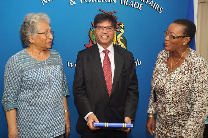 Minister of Foreign Affairs and Foreign Trade, Senator Maxine McClean chatting with Honorary Consul of India in Barbados, Dr. Philomena Mohini Harris and India's new High Commissioner to Barbados, Satendar Kumar following their meeting. (A.Miller/BGIS)