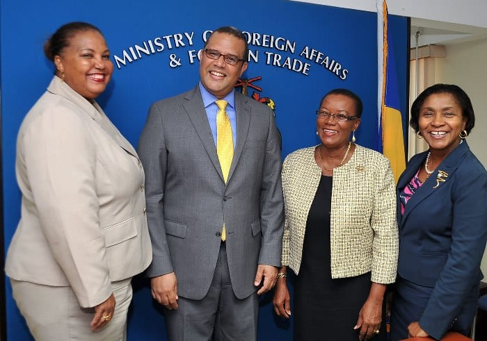 Minister of Foreign Affairs and Foreign Trade, Senator Maxine McClean (second right) posing with with Jamaican High Commissioner, David Prendergast (second left); Honorary Consul to Jamaica, Ella Hoyos (left); and Permanent Secretary in the Ministry, Cecile Humphrey (right). (A.Miller/BGIS)