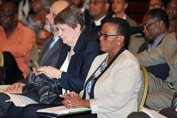 Foreign Affairs and Foreign Trade Minister, Senator Maxine McClean listening attentively during a panel discussion at today's launch ceremony for the UNDP's Caribbean Human Development Report at Hilton Barbados. (A.Miller/BGIS)