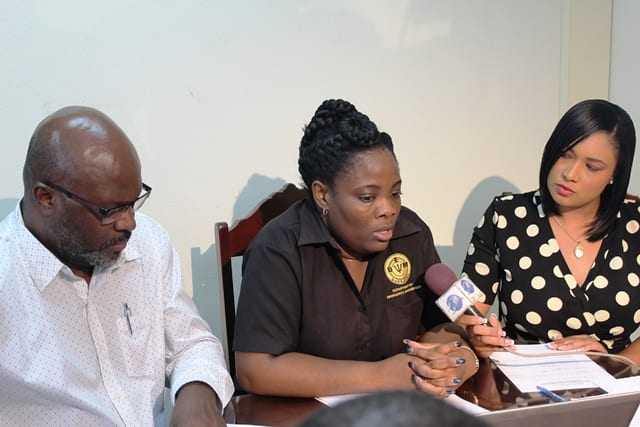 Attorney General and Minister of Home Affairs, Adriel Brathwaite and Director of the Department of Emergency Management (DEM), Kerry Hinds being interviewed by the Caribbean Broadcasting Corporation's Lisa Lorde during a press briefing on Tropical Storm Matthew today. (A.Skeete/BGIS)