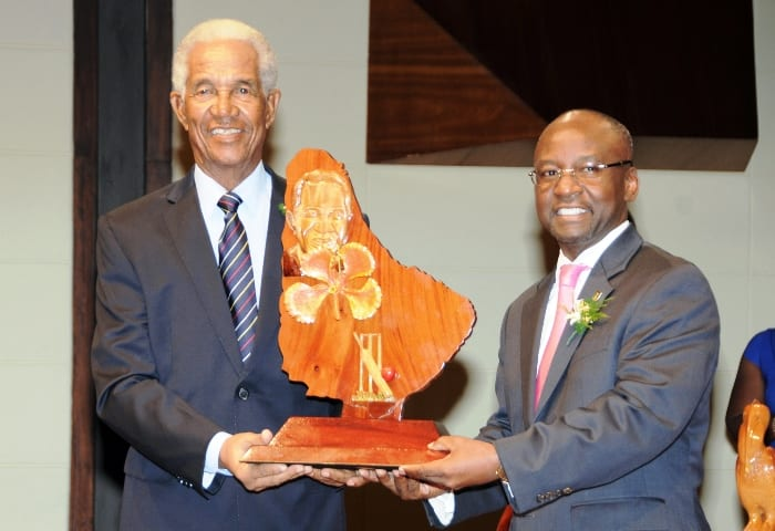 Minister of Sports, Stephen Lashley (right) and national hero The Right Excellent, Sir Garfield Sobers. (FP)