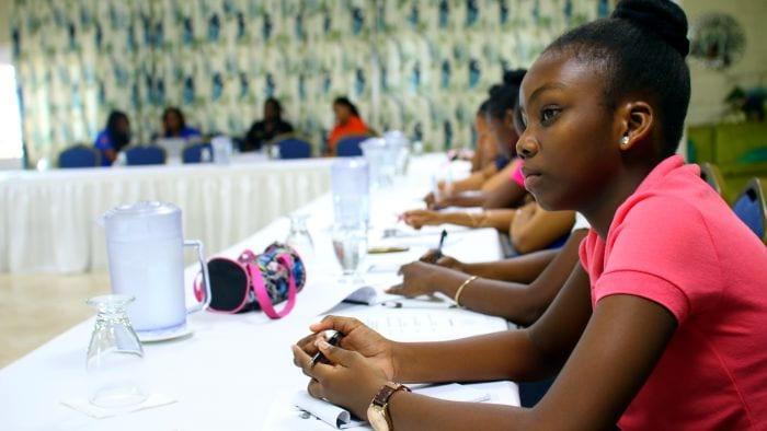 One member of the SMS Dynamic Speakers Club looks on. (J.Weekes/BGIS)