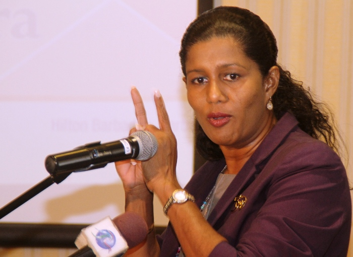 Minister of Labour, Senator Dr. Esther Byer Suckoo making a point during yesterday's opening ceremony of the Caribbean Electric Utility Service Corporation's Occupational Health and Safety Seminar. (Photograph compliments Barbados Today)