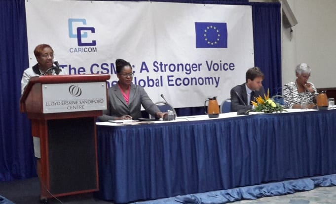 Permanent Secretary in the Prime Minister's Office, Sonja Welch, (at lectern), delivering the feature address at the CSME Workshop on Wednesday. Also pictured from left to right are: Chief Research Officer in the Prime Minister's Office, Paula Byer; Head of the Regional Cooperation and Trade Section, EU and OECS, CARICOM/CARIFORUM, Luca Pierantoni; and Director General, Office of Trade Negotiations, CARICOM Secretariat, Gail Mathurin. (GP)