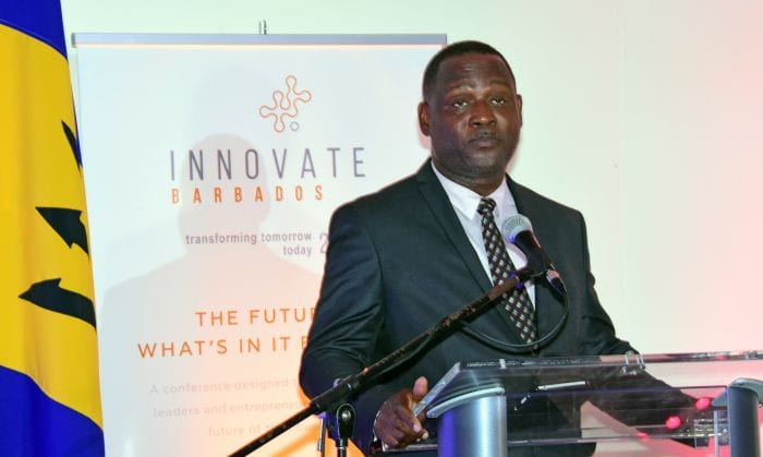 Small Business Development Minister, Donville Inniss addressing the official opening of Innovate Barbados 2016 at the Lloyd Erskine Sandiford Centre. (C.Pitt/BGIS)