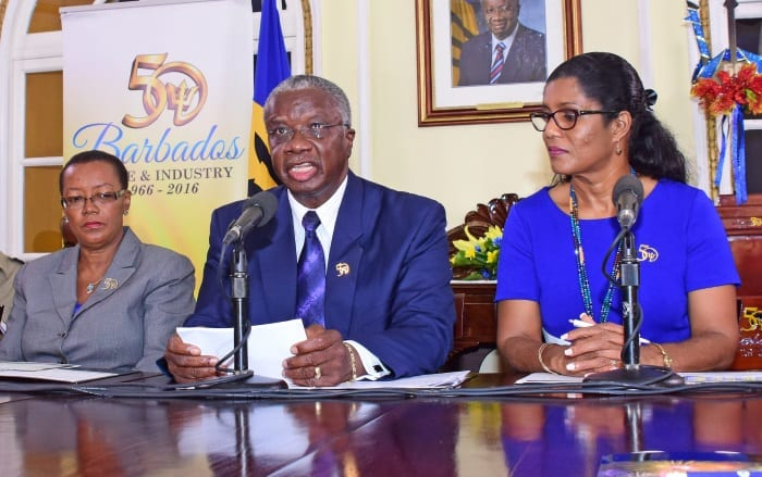 Prime Minister Freundel Stuart speaking at today's press conference at Ilaro Court. To the left is Chairperson of the National Committee for the 50th Anniversary of Independence, Senator Maxine McClean while to the right is Deputy Chairperson, Senator Dr. Esther Byer Suckoo. (C.P:itt/BGIS)