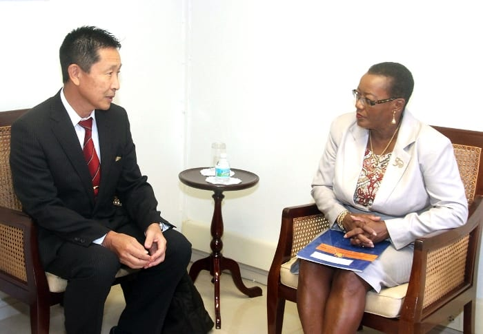 Minister of Foreign Affairs, Senator Maxine McClean in discussion with Japan's Ambassador to Barbados, Mitsuhiko Okada, during a recent meeting at the Ministry. (C.Henry/BGIS)