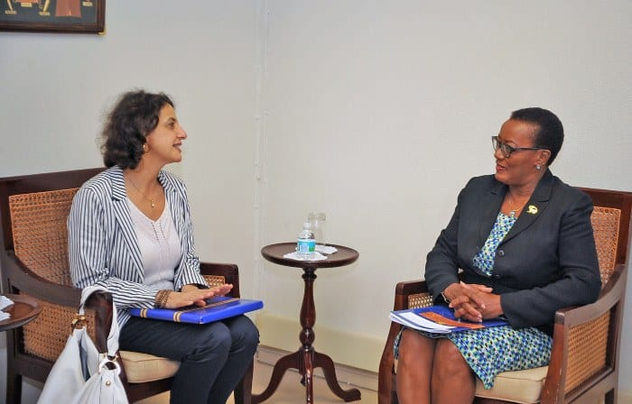 Minister of Foreign Affairs and Foreign Trade, Senator Maxine McClean in discussion with Ambassador of the European Union (EU) and Head of Delegation, Daniela Tramacere during a recent courtesy call at her Culloden Road, St. Michael office. (A.Miller/BGIS)
