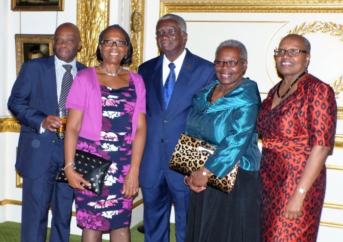 Prime Minister Freundel Stuart with some of the heads of Barbadian organisations who were present at the reception. (Photographs courtesy of Tyrone Roach)