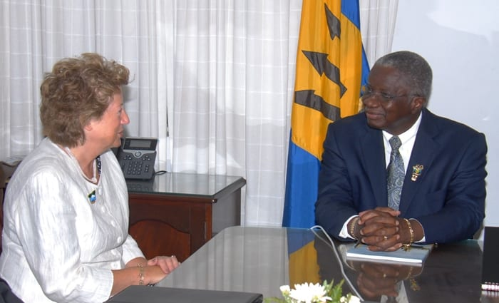 Prime Minister Freundel Stuart in discussion with Foreign Office Minister, Baroness Joyce Anelay during their recent courtesy call at Government Headquarters. (B.Hinds/BGIS)