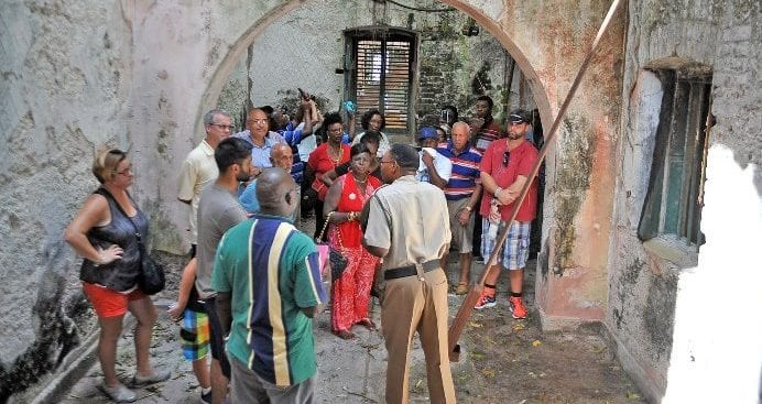 A group touring the 161-year-old Glendairy Prison on Saturday. (A.Miller/BGIS)