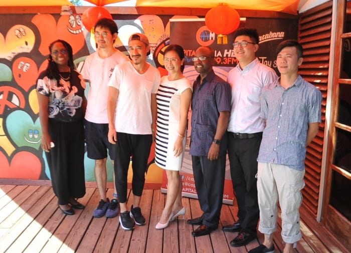 From left to right:  NCF Chief Cultural Officer, Andrea Wells; visiting deejays Yihu Tang and Bing Bing Yang; China's Ambassador to Barbados, Wang Ke; Culture Minister, Stephen Lashley;  Representative of China's Art and Entertainment Group and delegation leader , Raymond Wang; and Wei Wei Huang.  (A.Miller/BGIS)