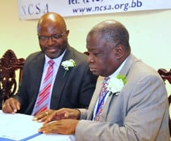 Attorney General and Minister of Home Affairs, Adriel Braithwaite and Chief Justice, Sir Marston Gibson. (FP)