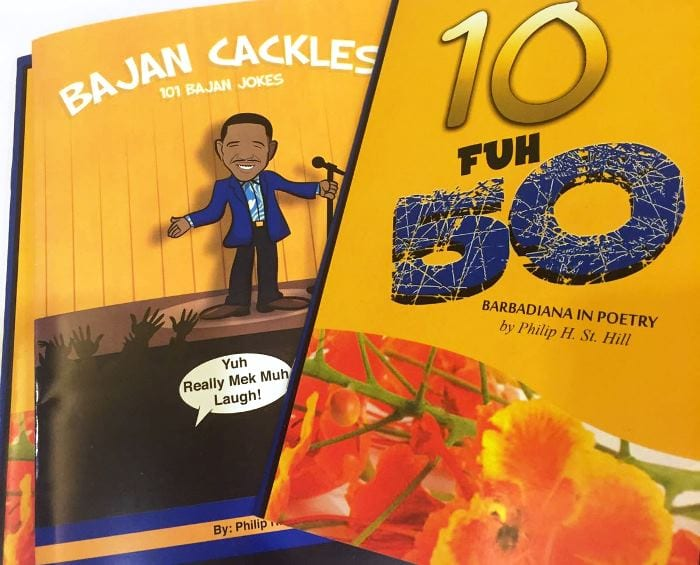 "The two publication launched by Philip St. Hill ""10 Fuh 50"" and ""Bajan Cackles – 101 Bajan Jokes"". (M.Rollock/BGIS)"
