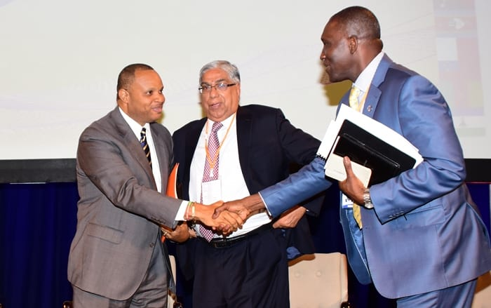 Finance Minister, Christopher Sinckler greets at the opening of the Commonwealth Association of Tax Administrators' 37th Annual Technical Conference at the Hilton Barbados Resort.