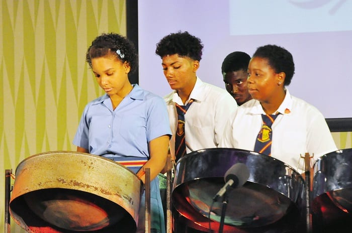 Postive youth! Dayrll Jordan Secondary students playing the steel pan. (FP)