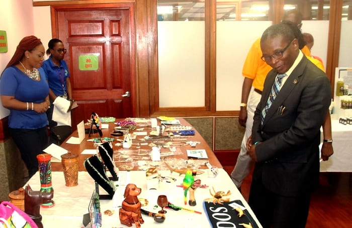 Minister of Housing, Lands and Rural Development, Denis Kellman looking at the work of some of the RDC's clients during a recent showcase. (C.Henry/BGIS)