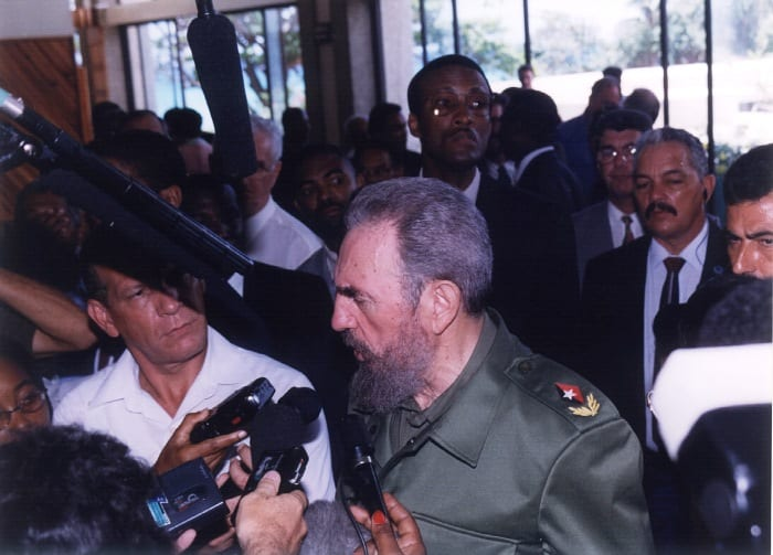 The then President of Cuba, Fidel Castro, speaking to members of the media while on an official visit to Barbados in 1998. Mr. Castro passed away on Friday, November 25, 2016, at age 90 years. (FP)