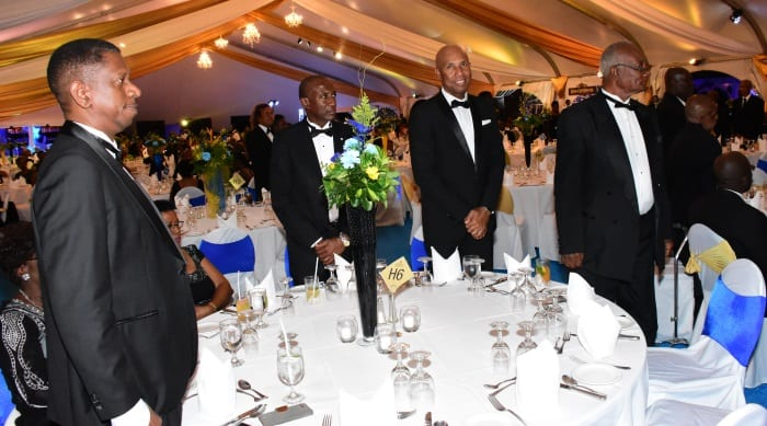 Record calypso monarch Red Plastic Bag (2nd right) was among those honoured at the Prime Minister's Ball On Friday. (C.Pitt/BGIS)
