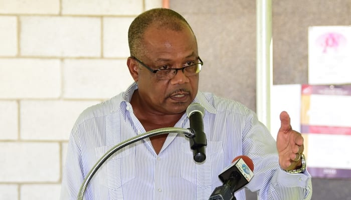 Health Minister John Boyce speaking at the Samuel Jackman Prescod Polytechnic's Health Fair last Friday. He expressed concern about the growing trend of binge drinking by young people at parties. (C.Pitt/BGIS)