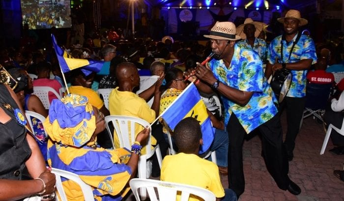 The Tuk Band performing at the Sagicor Life Inc. Lighting Ceremony in Bridgetown on Tuesday evening. (C.Pitt/BGIS)