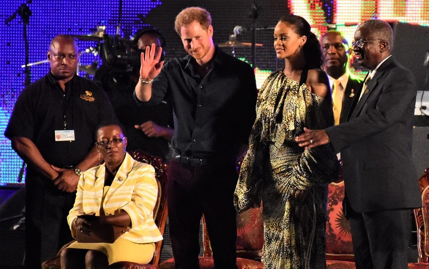 His Royal Highness Prince Henry of Wales waving to the crowd at the Golden Anniversary Spectacular Mega Concert at Kensington Oval. Also pictured on stage were (from left to right) Minister of Foreign Affairs and Foreign Trade, Senator Maxine McClean (seated); Barbadian pop superstar, Rihanna and Prime Minister Freundel Stuart.(C.Pitt/BGIS)